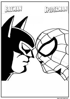 Batman and spider man coloring pages. Who doesn't know Batman? Maybe all Dc fans and superhero movie fans must have heard at least this Batman figure. Batman is one of the most famous supe. Spiderman Batman Superman, Batman Free, Batman Spiderman, Batman Arkham City, Easy Coloring Pages, Cartoon Coloring Pages, Printable Coloring Pages, Coloring Books, Kids Coloring