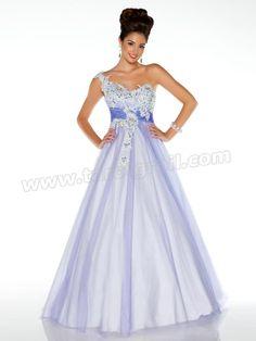 A Line Floor Length Lavender One Shoulder Prom Gown