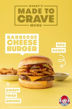 Get ready for an explosion of flavors with Wendy's Made to Crave menu featuring the epic Barbecue Cheeseburger. Food Graphic Design, Food Menu Design, Food Poster Design, Graphic Design Posters, Ad Design, Layout Design, Cafe Posters, Food Banner, Design Inspiration