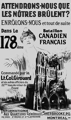 Canada, French language recruitment poster emphasizing the German threat against Canada, Ww2 Propaganda, Singing The National Anthem, France, French Language, World War I, Military, Memes, 1940s, German