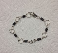 Handmade Black and silver wire wrapped bracelet