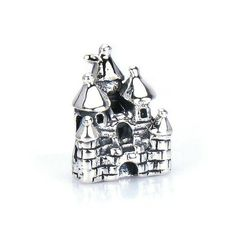 Fairytale CASTLE Silver European Bead Charm - Fits Pandora, Charmed Memories and All Compatible Brand Bracelets Bangles BELLA FASCINI® F-54