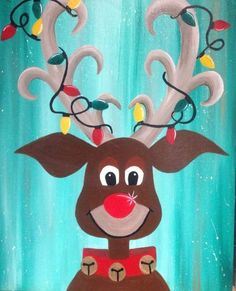 Join us at Pinot's Palette - Spokane on Sat Dec 2015 for Oh Deer, It's Christmas. Seats are limited, reserve yours today! Christmas Paintings On Canvas, Christmas Canvas, Christmas Deer, Christmas Signs, Christmas Pictures, Canvas Paintings, Christmas Windows, Winter Painting, Diy Painting