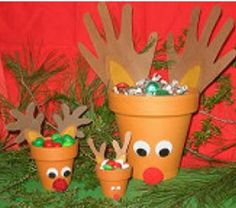 Reindeer pots. can be filled with sweets or used to decorate your porch