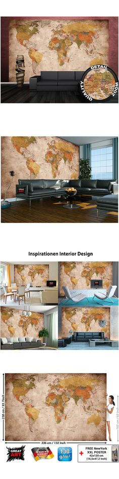 Household Items Xlarge World Wall Map Vintage Home Decor Art Painting Classic Mural Dining Room