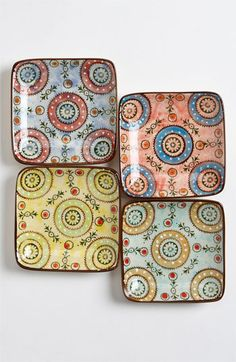 Couleur Nature Square Paisley Appetizer Dishes (Set of 4) | Nordstrom