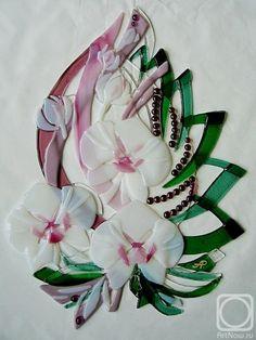 """Репина Алёна. Настенное панно """"Нежные орхидеи"""" стекло, фьюзинг"""