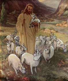 """""""Sheep are so tired. Am I right, girls?"""" In this austere image, Jesus tends to a herd of listless baby unicorns. This signed and dated digital print by Serene Bacigalupi features art that was originally drawn onto a vintage painting. Baby Unicorn, Unicorn Art, Thrift Store Art, Thrift Stores, Jesus Art, Old Paintings, Vintage Paintings, Girly, Art For Art Sake"""