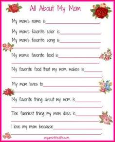 mother s day questionnaire cute questions to ask  all about my mom mother s day printable