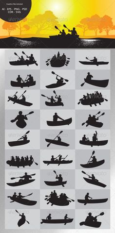 Paddling Silhouettes  #GraphicRiver         This is nice vector silhouettes. In this files include AI and EPS versions. You can open it with Adobe Illustrator CS and other vector supporting applications. I hope you like my design, thanks .