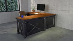 Starting at $2500 The XL Desk was designed with price and style in mind. It can be made with or without a return, and has an optional shelf. It costs less than half the price of our other desks, around $2500 for the desk, or $4800 with the return. The shelf would add $1600 if purchased with the desk. It's built to last, and to impress. It gets it's name from the X cutout and the L shape when matched with a return.