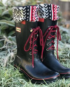 """8d55efe29 Rayana White on Instagram: """"I wear my tall SLUGS Fleece Rain Boot Liners  with all my boots even my short Hunters! With a little folding I hide the  extra ..."""