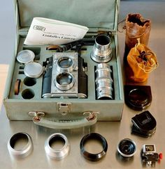 The Contaflex TLR is a highly sought after camera by collectors, including all the accessories that were produced for the camera during its limited run (1936-1943).