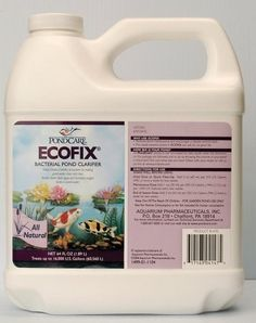 8 oz. EcoFix Pond Clarifier Size: 64 Oz by Mars Fishcare North America. $35.39. AAP147D Size: 64 Oz Features: -Pond clarifier.-Makes pond water clean and clear.-Breaks down dead algae.-Increases the concentration of dissolved oxygen in pond water.-Helps create a healthy ecosystem for pond fish.-Can be used in ponds containing salt.
