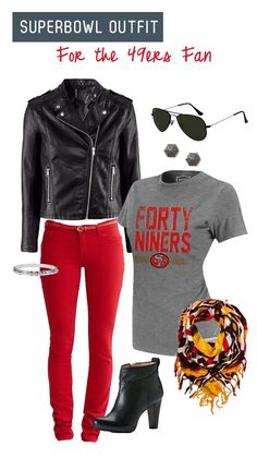 Superbowl outfit for the 49ers fan - Here is a budget friendly outfit for game night!  #fashion #football