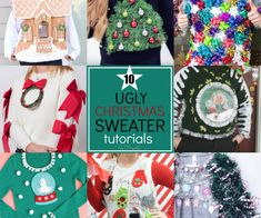 Make your own ugly Christmas sweater using these 10 different tutorials! Great for Christmas parties, events, and of course, Ugly Sweater Christmas parties! Neighbor Christmas Gifts, Christmas Poems, Christmas Crafts, Christmas Parties, Christmas Ornaments, Christmas Decorations, Christmas Activities, Christmas Traditions, Christmas Christmas