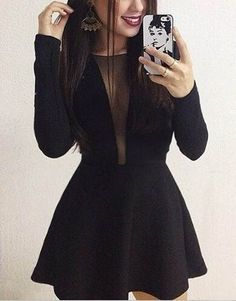 Shop sexy club dresses, jeans, shoes, bodysuits, skirts and more. Black Dress Outfits, Prom Outfits, Homecoming Dresses, Girls Fashion Clothes, Fashion Dresses, Cute Dresses, Short Dresses, Fiesta Outfit, Prom Dresses With Pockets