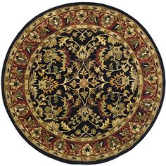 Bathroom Rugs Ideas | Safavieh Heritage Collection HG953A Handmade Traditional Oriental Black and Red Wool Round Area Rug 36 Diameter ** Visit the image link more details. Note:It is Affiliate Link to Amazon. #startup