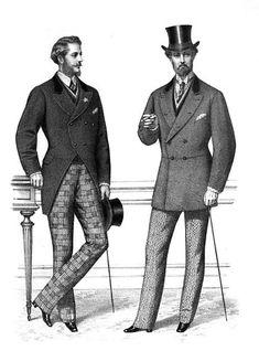 men 1870-1900: shirts and neckties, vests, coats and trousers. Coat alternatives were frock coats, morning coats, sack coats and Norfolk jackets.
