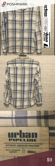 Urban Pipeline button down plaid shirt men's small This shirt is a men's small Urban Pipeline in excellent condition with no rips or stains and comes from a smoke free home.  Buy with confidence I am a top rated seller, mentor and fast shipper.  Don't forget to bundle and save. Thank you. urban pipeline Shirts Casual Button Down Shirts