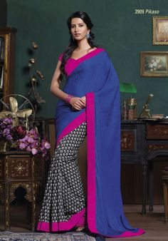 This black & white printed saree look magnificent with dark blue color pallu & pink border patta