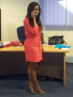 Animal print shoes and coral dress