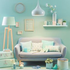 Ideas living room grey couch decor pastel for 2019 Living Room Decor Grey Couch, Mint Living Rooms, Living Room Colors, Living Room Interior, Home Living Room, Living Room Designs, Bedroom Decor, Bedroom Ideas, Room Color Schemes