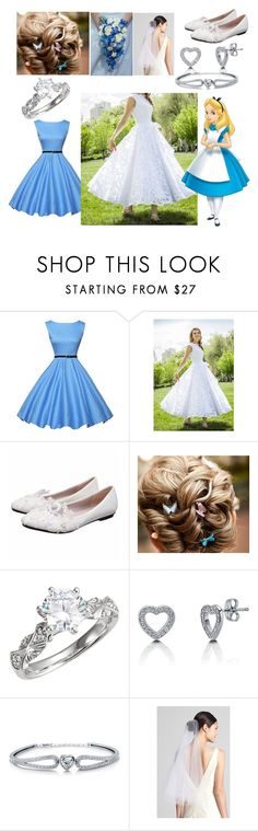 """""""Alice's Wedding"""" by blackest-raven ❤ liked on Polyvore featuring Claire Calvi, BERRICLE and Wedding Belles New York"""