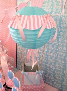 Hot air balloon decoration all things kinley girl baby showe Fiesta Baby Shower, Baby Shower Parties, Baby Shower Themes, Baby Boy Shower, Baby Shower Decorations, Party Decoration, Balloon Decorations, Baby Shower Balloons, Birthday Balloons