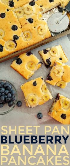 These Sheet Pan Blueberry Banana Pancakes are a great way to make a delicious no-fuss breakfast for a crowd. These Sheet Pan Blueberry Banana Pancakes are a great way to make a delicious no-fuss breakfast for a crowd.