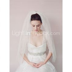 Tulle And Russian Wedding Veil Two-tier Elbow Veils - GBP £21.89