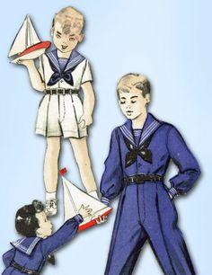 1940s Toddler Boy's Sailor Suit Pattern Unused 1949 Butterick Sewing Pattern Sz4 | eBay