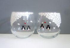 Penguins in Love Set of 2 Wine Glasses by SwirlyGarden on Etsy, $50.00
