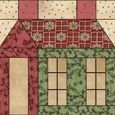 Schoolhouse quilt block from the Abbys Schoolhouse collection by Square Textiles. Downloadable PDF pattern/instructions.
