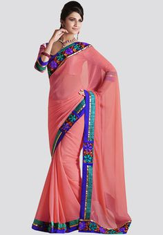 Peach coloured, embroidered saree for women by Bahubali. It's crafted from georgette and measures 6.4 m, including the blouse.