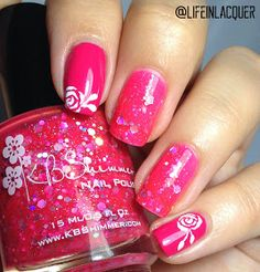 Life in Lacquer: Bright floral girly hand painted rose nail art design