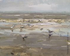 "Savings 21% Seascape ""Seagulls and Oystercatcher"" 4 Days! - http://rosepleinair.com/savings-21-seascape-seagulls-and-oystercatcher-4-days/ #painting #pleinair"