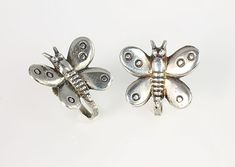 #Mexico silver #Butterfly #Earrings, screw back 1940s jewelry spring summer
