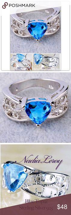 Size 8 Genuine Blue Topaz Sterling Silver Ring Nadia Leroy Genuine Triangular Blue Topaz.  3.75 Ct Blu Topaz Size 8 Jewelry Rings