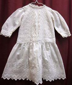 Victorian vintage child's white dress size 9 - 12 mo. Handmade - Handsewn #Homemade