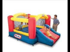 Kids Bounce House Little Tikes Jump n Slide Bouncer Inflatable Slide Commercial Inflatable Bounce House, Inflatable Slide, Inflatable Bouncers, Little Tikes, Outdoor Toys, Outdoor Play, Party Outdoor, Outdoor Games, Toys R Us