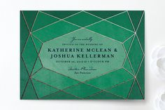 Abstract Jewel Wedding Invitations. Love the greens and geometric shapes - RG