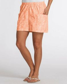 Pull on our relaxed, mid length Happy life Cabana short complete with side pockets and begin exploring on the beach, relaxing by the pool or taking a much needed walk. relazed fit, pull on elastic waistband, mid thigh length, side cargo pockets, 100% cotton, imported