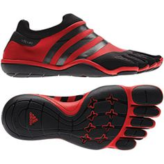 Adidas Adipure Barefoot-Trainer Shoe:   This shoe is the first barefoot-trainer shoe designed specifically for the gym. The stretchy textile upper conforms to the foot, and the minimal sole offers maximum contact with the floor. Individual toe boxes provide increased flexibility and grip. www.adidas.com.