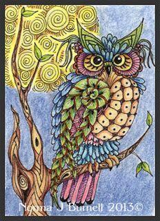 Fairy Tangles: Moon Owls