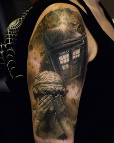 1e2bb9b3d Doctor Who half sleeve tattoo (TARDIS in space, Weeping Angel) by at in  Zwickau, Germany