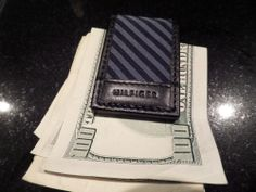 TOMMY HILFIGER Blue Black Leather Canvas Money Clip Magnetic NEW Mens Striped  #TommyHilfiger