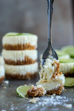 Soft, sweet and sligthly tangy. These Key Lime Cheesecakes are made with Greek Yogurt. Simple recipe!
