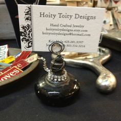 Old doorknob biz card holder with bling!!!! (Hoity Toity designs)