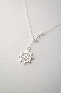 Anchor and Ship Wheel Lariat Necklace, Sterling Silver by GlassPoppies, $31.00 - I LOVE Glass Poppies stuff!